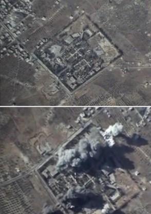 Door de Russen vrijgegeven videobeelden van een aanvalsactie (voor en na) tegen IS-stellingen in Idlib.