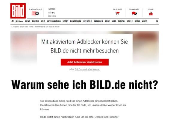 Duitse nieuwssite Bild weert surfers die reclame verbergen