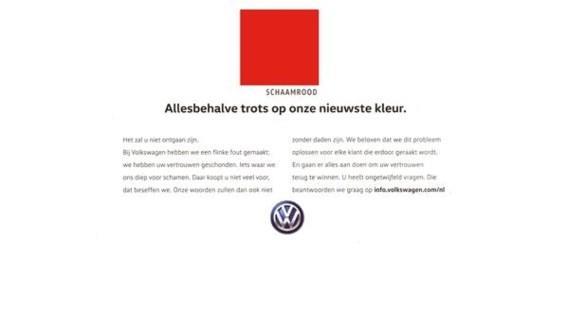Het blauw van Volkswagen wordt 'schaamrood'