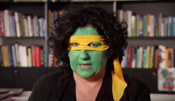 Annemie Turtelboom als Ninja Turtle: 'Dat is schrikken hé!'