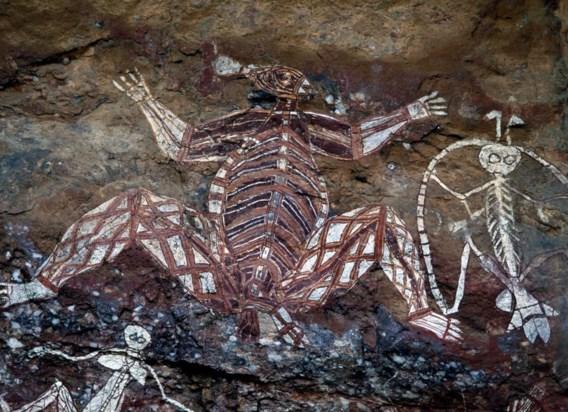 In het Australische Kakadu-park maken de Aboriginals al twintigduizend jaar tekeningen. Deze is van de jaren 1960.