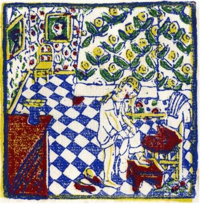 In deze litho van Edgard Tytgat (1921) gaat Roodkapje uit de kleren.
