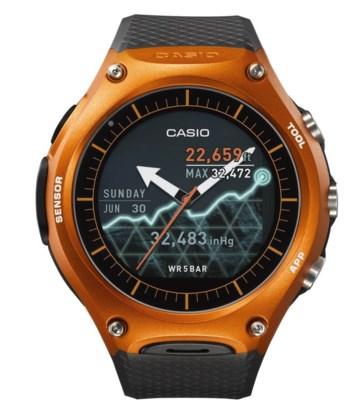 De Casio WSD-F10-smartwatch.