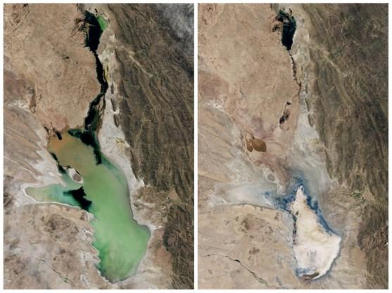Boliviaans meer is nu woestenij