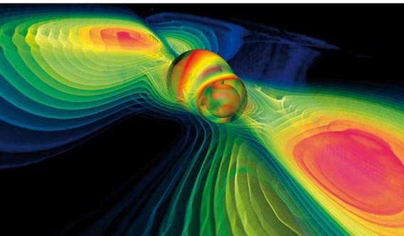 Artistieke impressie van de zwaartekrachtgolven van twee botsende zwarte gaten.