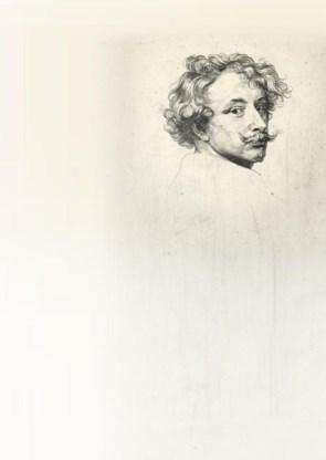 Geëtst zelfportret van Van Dyck uit zijn 'Iconografie', ca. 1627-1635.