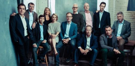 De cast van Spotlight met  de mensen op wie hun personage is gebaseerd.