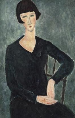 Amedeo Modigliani,  'Femme assise à la robe bleue', 1918-1919 (linksboven).