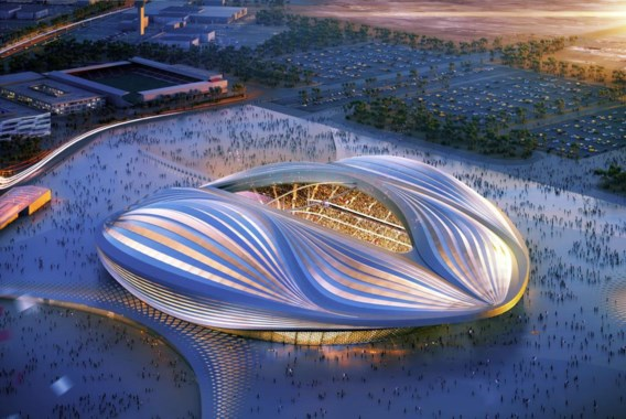 In wijzerzin: de bouw van het Al-Wakrah- stadion zou het niet te nauw nemen met de werkomstandigheden, grondplan van het  Dubrovka Station met vloeiende lijnen, het  Havenhuis in Antwerpen en het Guangzhou  Opera House.