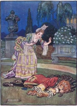 'De schone en het beest', een klassieker uit de Bronstijd, hier in een litho uit 1910.