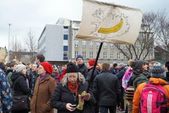 Betoging in Reykjavik.