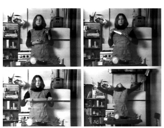 'Semiotics of the kitchen' van Martha Rosler: gewoon eens op Youtube bekijken.