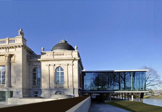 Het Musée de la Boverie in Luik, met rechts de beglaasde uitbreiding van de Franse architect Rudy Ricciotti.