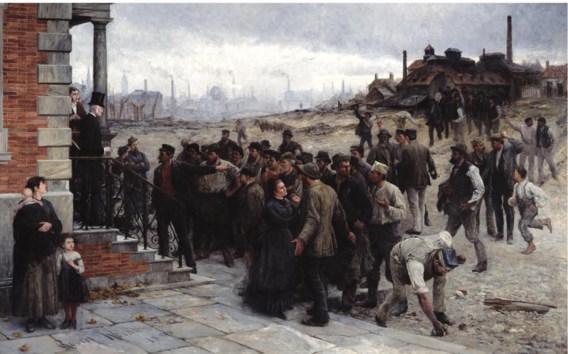 'Der Streik' (1886) van Robert Koehler: in een tijd zonder sociaal overleg bracht alleen een staking het parlement in beweging.