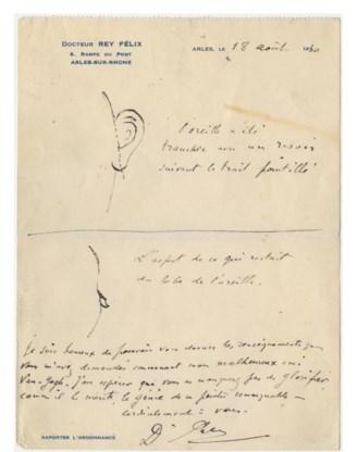 Brief van dokter Félix Rey met twee tekeningetjes: boven geeft hij aan wat Van Gogh precies van zijn oor afsneed, onder toont hij wat er van het oor overbleef.