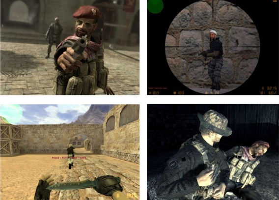 Osama bin Laden (rechtsboven): tot daar aan toe. Maar moslims zijn in games al te vaak opgejaagd wild.
