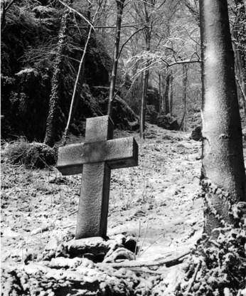Een stenen kruis markeert de plaats waar koning Albert I stierf.