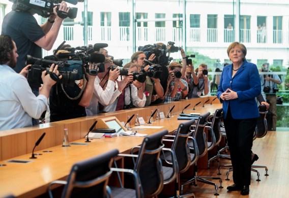 """<p>Bondskanselier Angela Merkel, vandaag op de persconferentie in Berlijn.<span class=""""credit"""">ap</span></p>"""