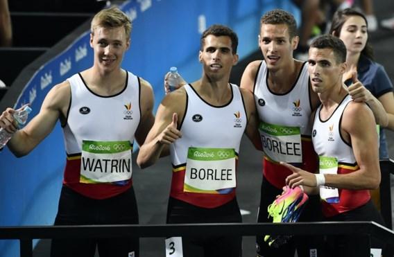 """<p>Hier staan ze netjes in de juiste volgorde: eerst  Julien Watrin en dan Jonathan, Dylan en Kevin Borlée.<span class=""""credit"""">belga</span></p>"""