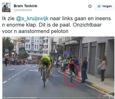Zware crash Kruijswijk door paaltje, peloton woest op organisatie Vuelta