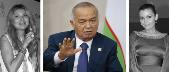 De Oezbeekse president Islam Karimov met zijn twee dochters: rechts Unesco-ambassadrice Lola, links de 'verbrande' Gulnara, die huisarrest zou hebben.