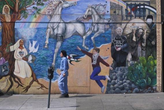 Een muurfresco bejubelt de 'creatieve klasse' van San Francisco.
