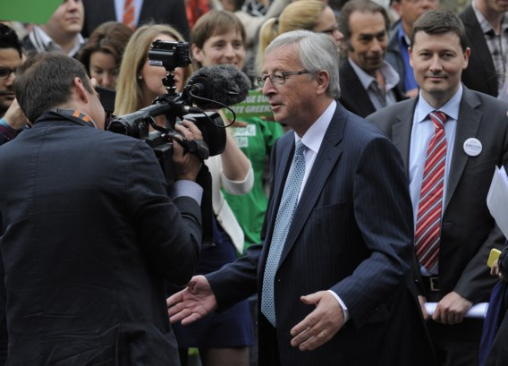 Jean-Claude Juncker en zijn kabinetschef Martin Selmayr, op campagne voor de Europese verkiezingen van 2014.