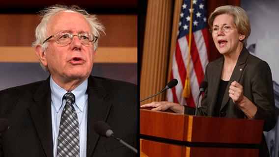 Bernie Sanders neemt het op voor Elizabeth Warren