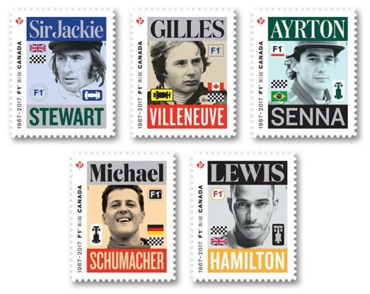 Canadese post eert vijf F1-piloten met bijzondere postzegelreeks
