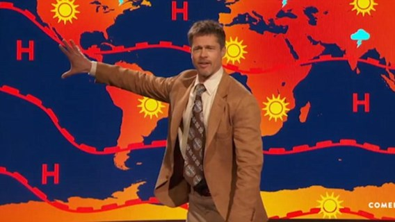 Brad Pitt haalt uit naar Trump tijdens komische weersvoorspelling