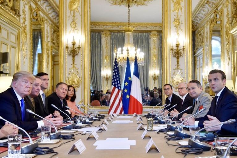Trump verdedigt zoon in persconferentie met Macron