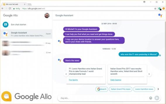 Google Allo laat je nu ook via de computer chatten