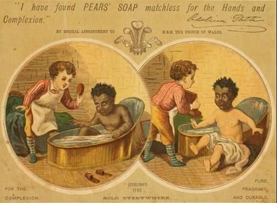 Met zeep worden zwarte mensen wit gewassen