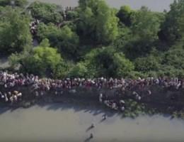 Drone toont duizenden Rohingya op de vlucht