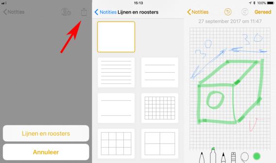 Tekenen op ruitjespapier in de Notities-app van iOS 11