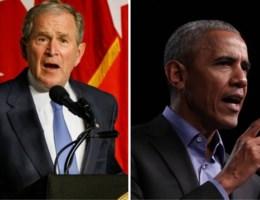 Obama en Bush hard voor beleid van Trump (zonder hem bij naam te noemen)