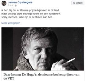 Jeroen Olyslaegers niet opgezet met de Hugo's