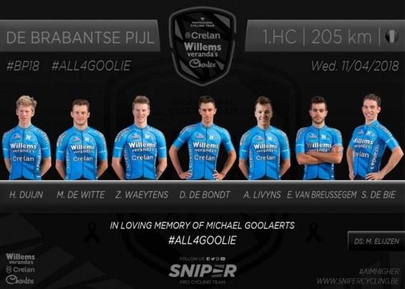 """Volledige ploeg van Michael Goolaerts zakt af naar Brabantse Pijl: """"Als eerbetoon en op vraag van de familie"""""""