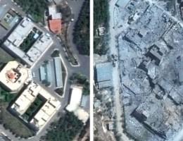 Voor en na: satellietbeelden tonen impact na luchtaanval in Syrië