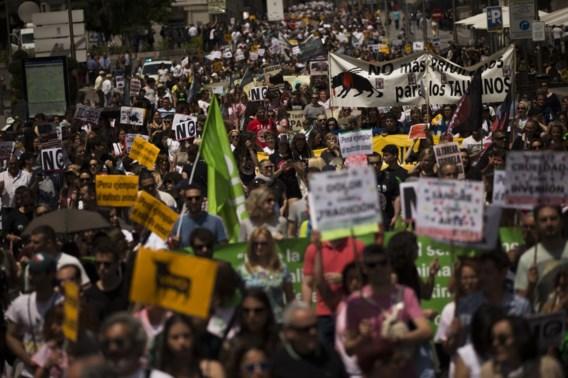 Tienduizenden Spanjaarden betogen tegen stierengevechten
