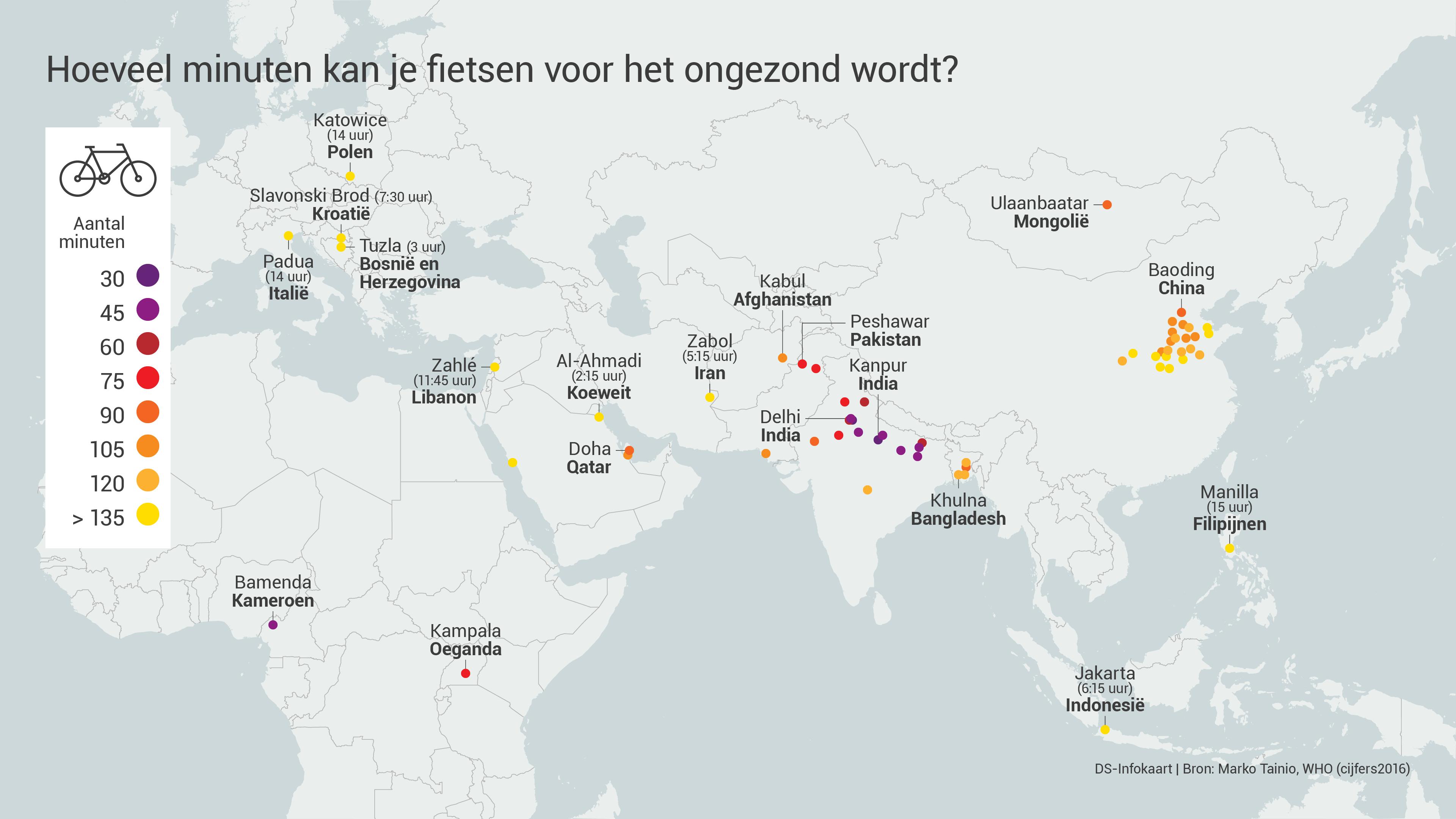 Fiets globaal op kaart