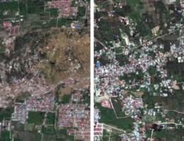 Voor en na: satellietbeelden tonen ravage die tsunami en aardbeving achterlieten op Sulawesi