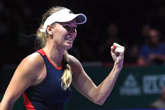 Wozniacki pakt eerste zege op WTA Finals