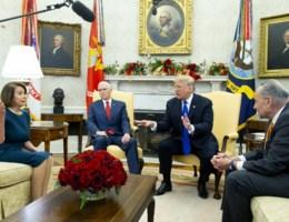 Trump ruziet voor draaiende camera's met Democraten