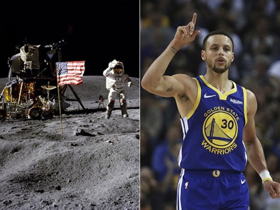 NBA-ster Stephen Curry gelooft niet in de maanlanding, NASA nodigt hem uit
