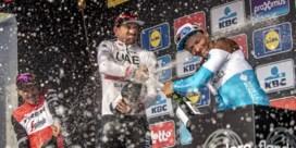 """Niets dan lachende gezichten op podium van Gent-Wevelgem: """"Iedereen zat op de limiet, maar dan heb ik een goede sprint"""""""