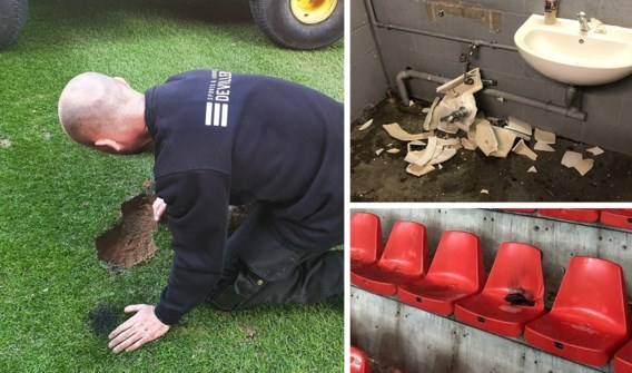 Standard deelt foto's van doortocht Anderlecht-hooligans: kraters op het veld, gesloopte wc's en afgerukte zitjes