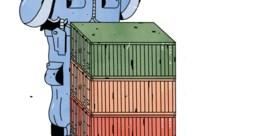 De computer wijst de verdachte container aan