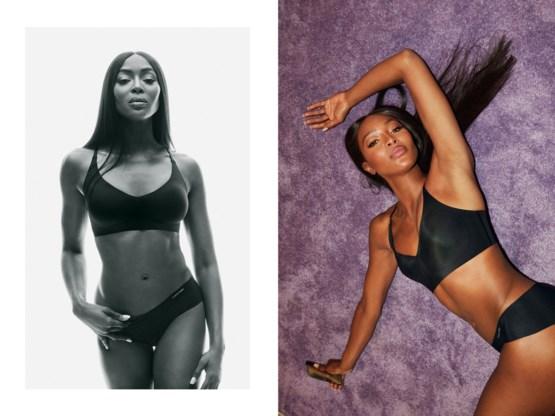 Naomi Campbell voor het eerst te zien in ondergoedreclame Calvin Klein