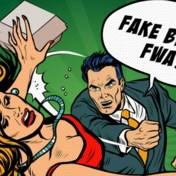 Bicky Burger gebruikt tekening waarop man vrouw slaat als reclame
